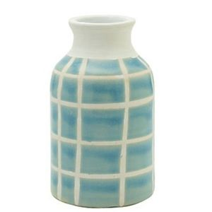 Teal Striped Ceramic Vase-NWT